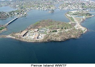 Aerial photo of the Peirce Island Wastewater Treatment Facility